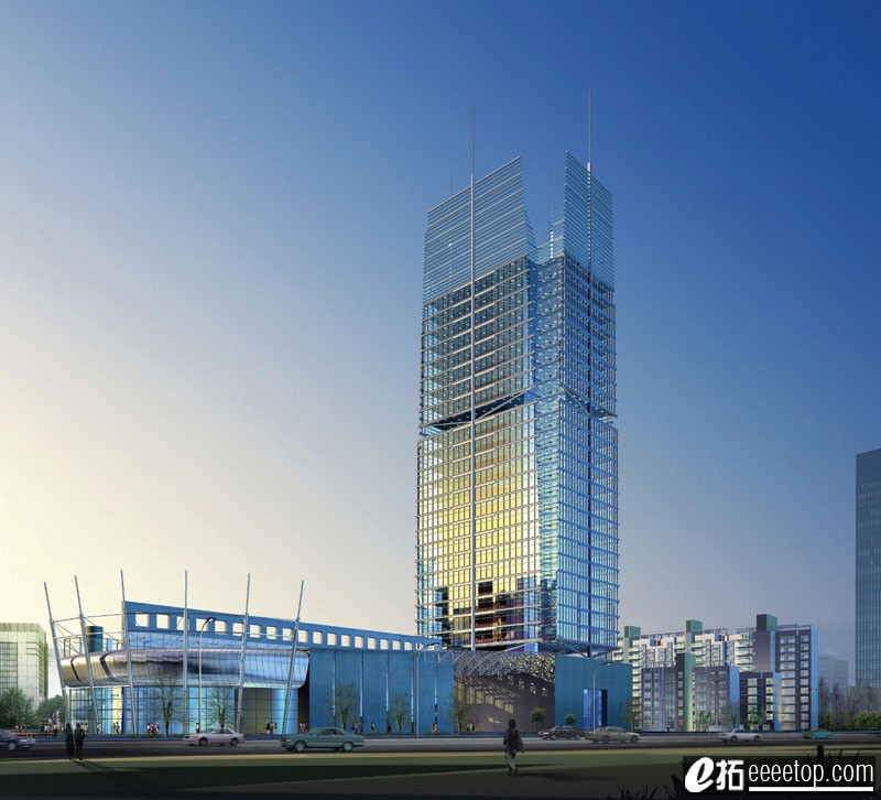 分享一些高层办公建筑效果图