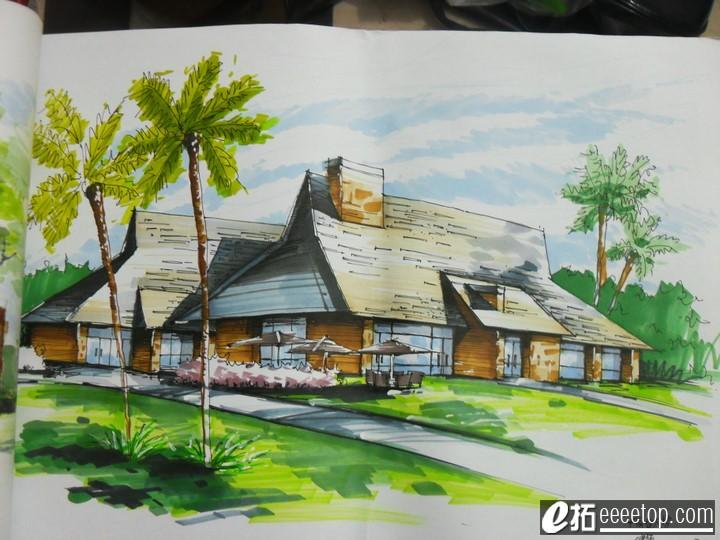 我画的一些钢笔画和马克笔画 - 传统三剑客 - e拓建筑