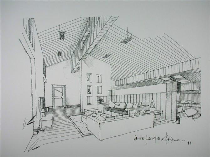 室内建筑设计的手绘图