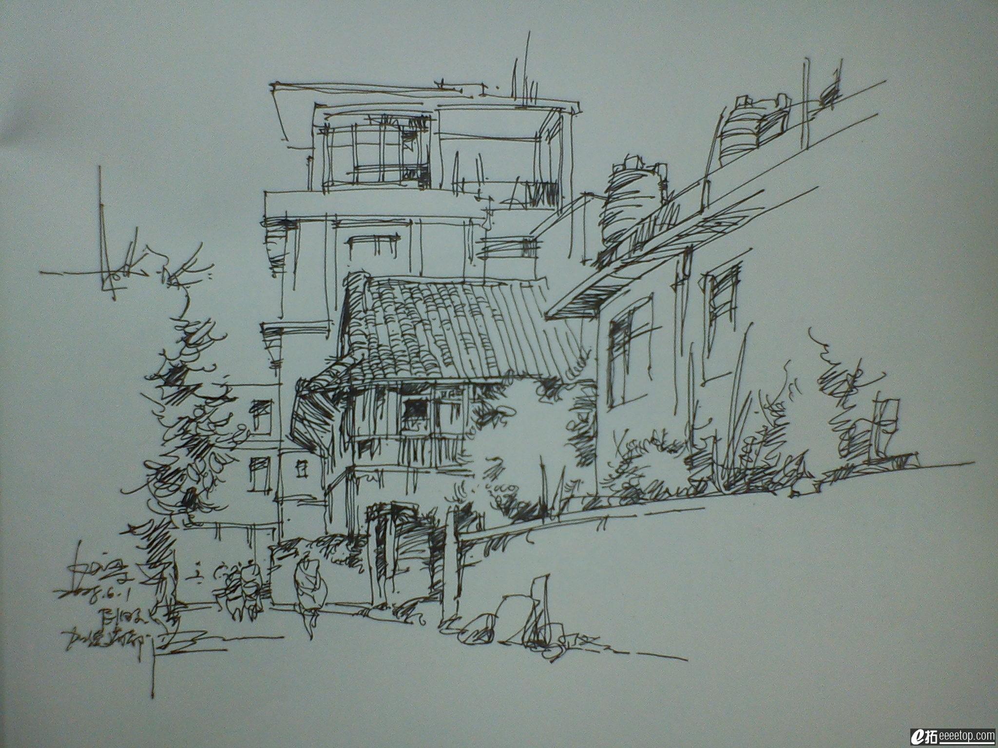 建筑速写手绘图片临摹