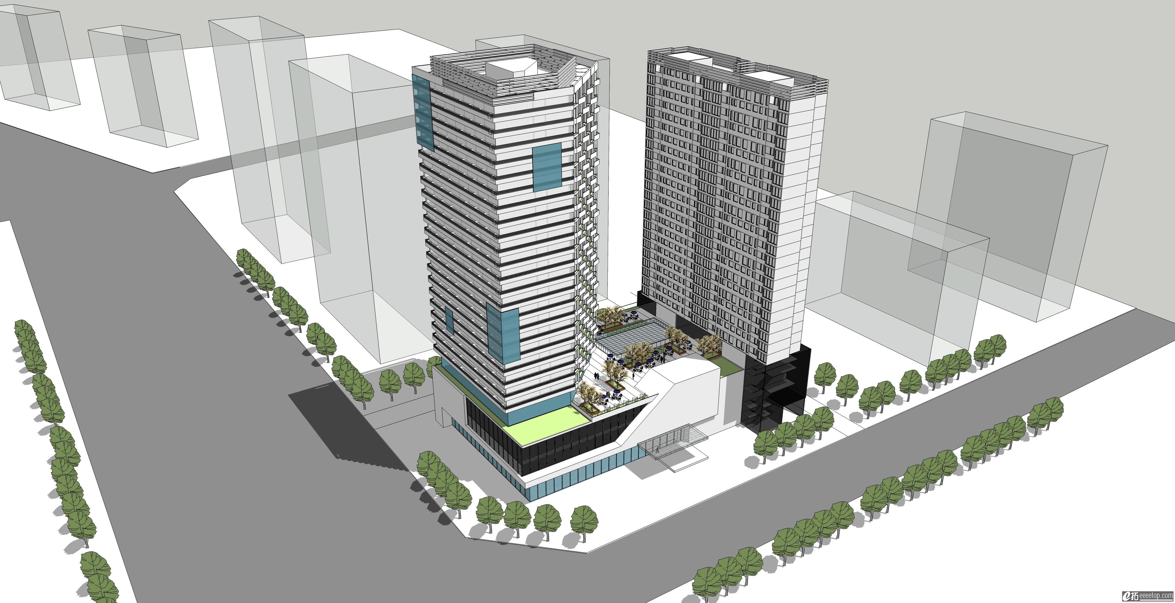 酒店設計su模型圖片