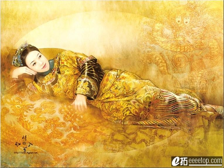 古代血舞妖娆女子图片手绘图