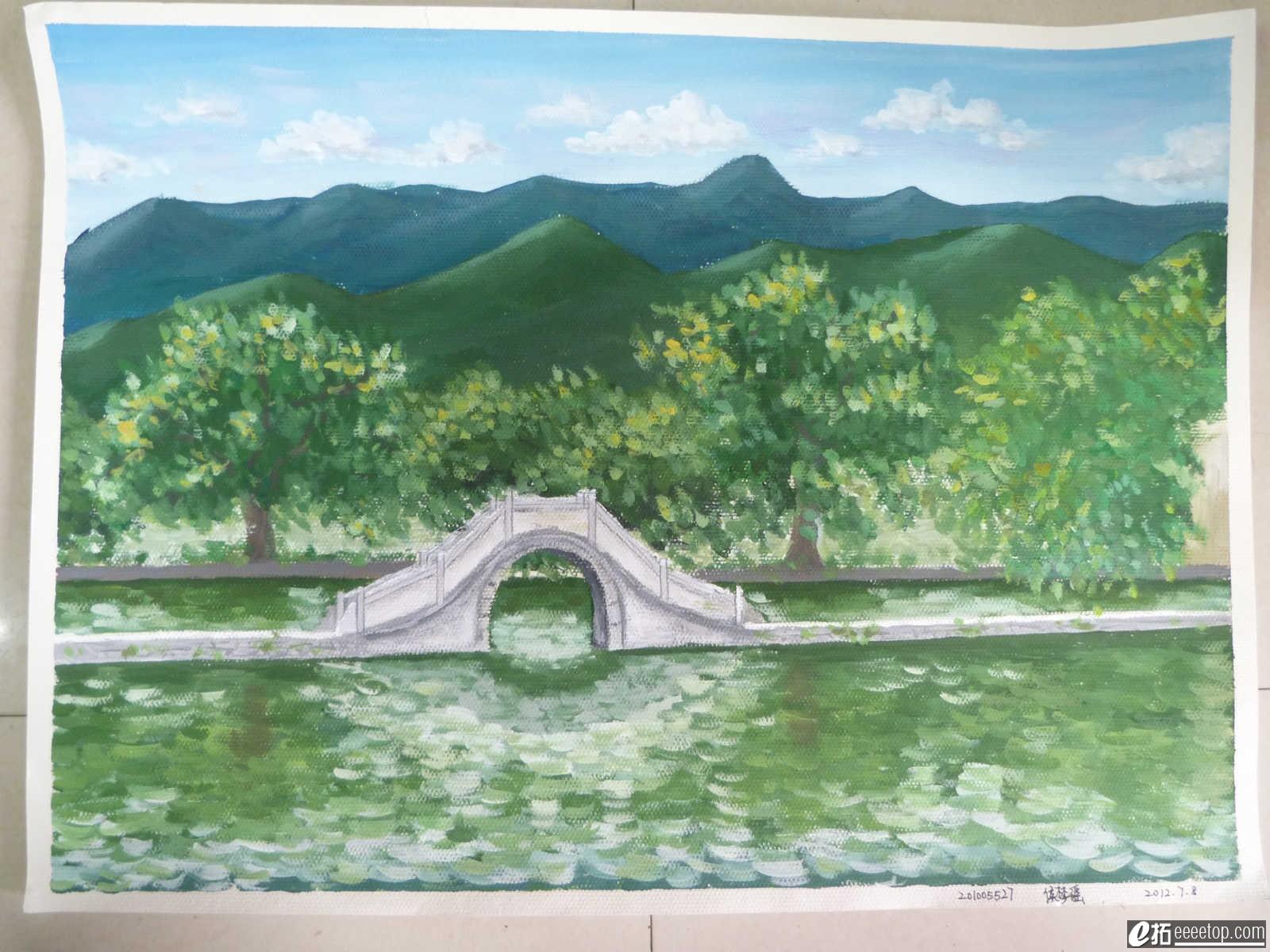 【学堂·手绘】暑假安徽宏村写生水粉画