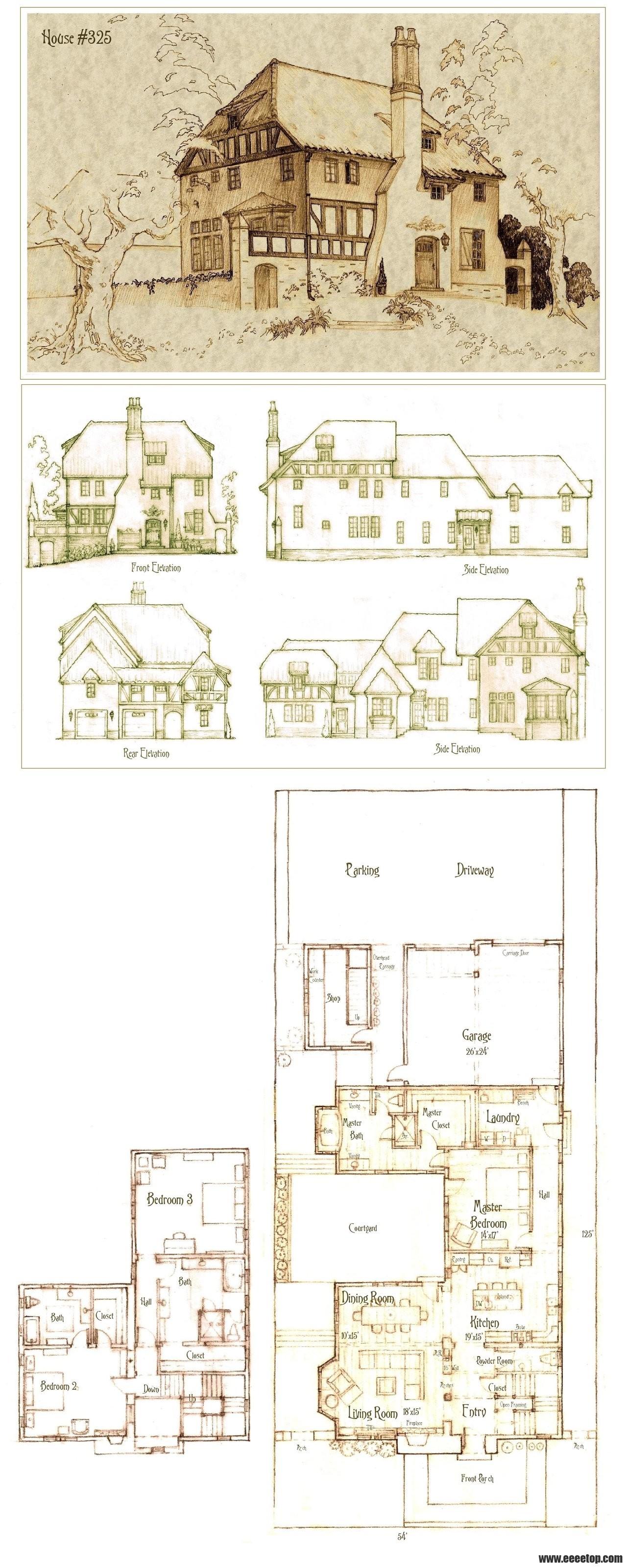 手绘住宅底层平面图