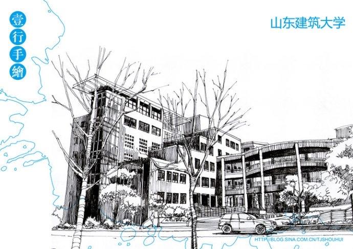 手绘建筑钢笔画