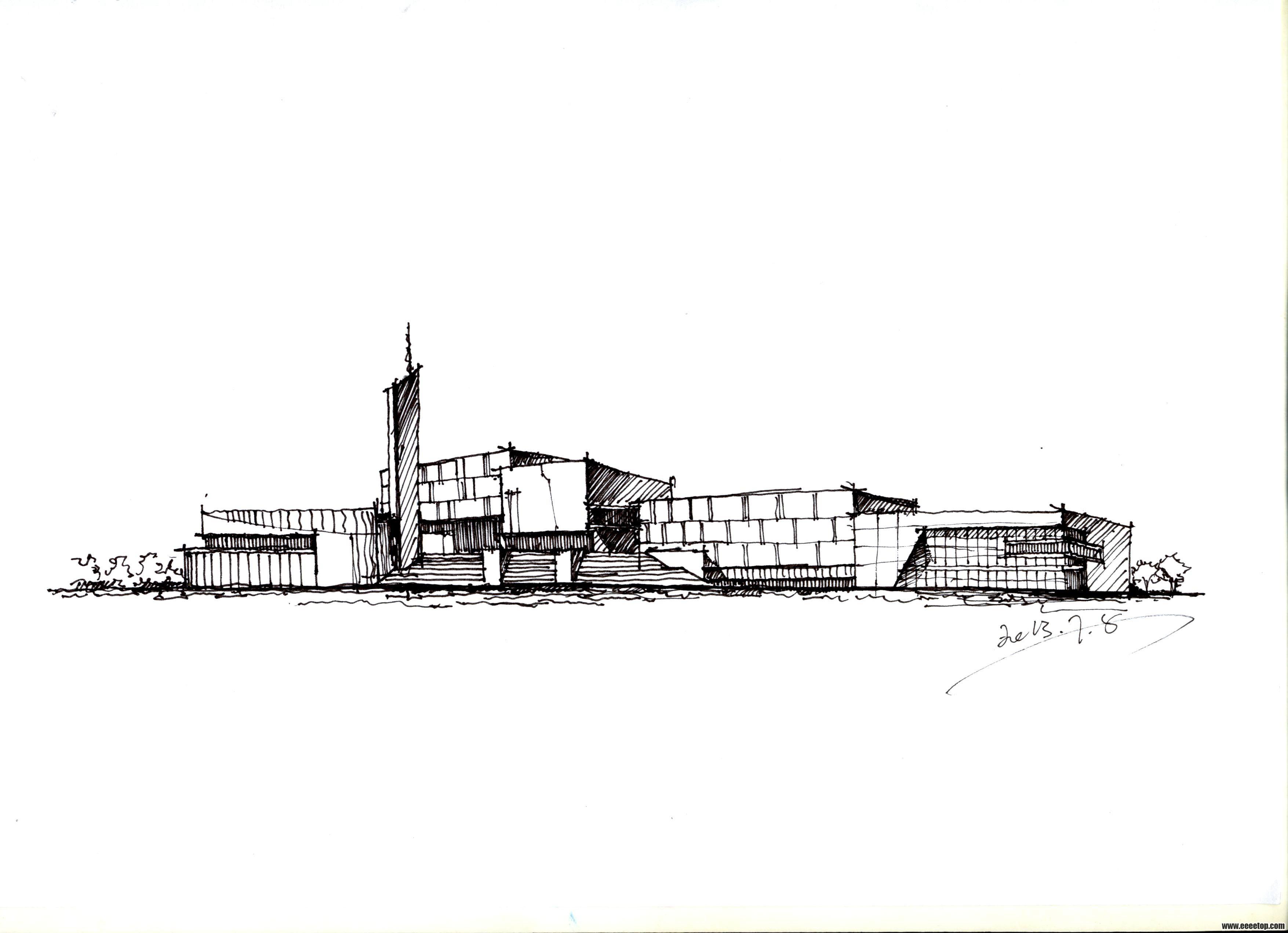空闲时间临摹的建筑手绘