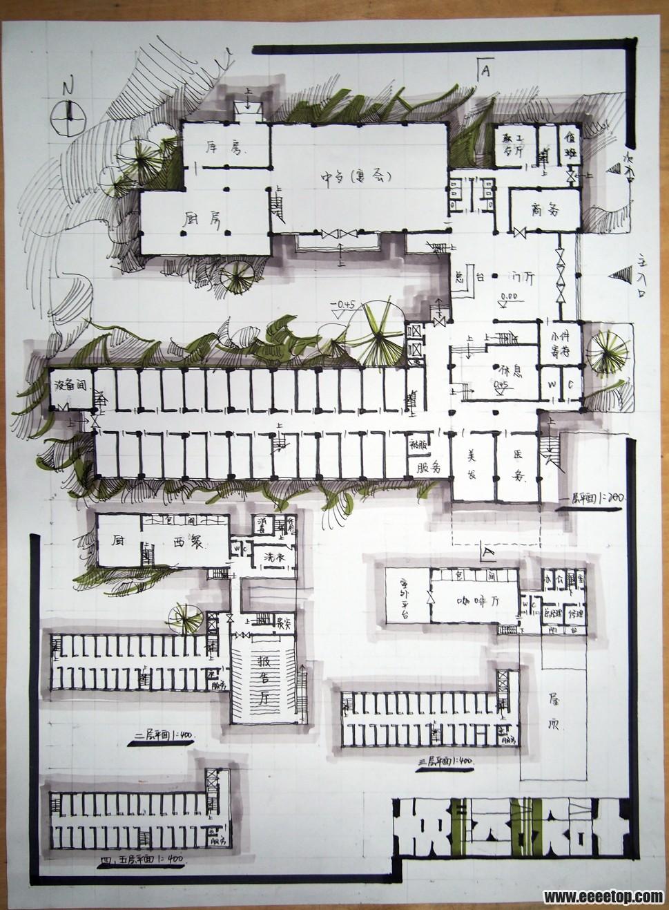 【yp】旅馆快题练习——望指点 - 大学生设计广场 - e图片