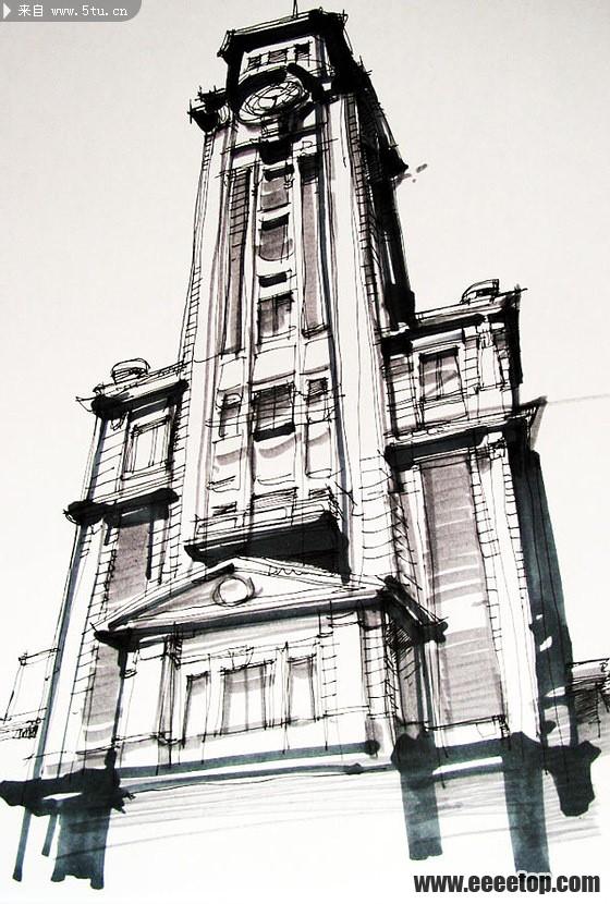手绘建筑图片图片