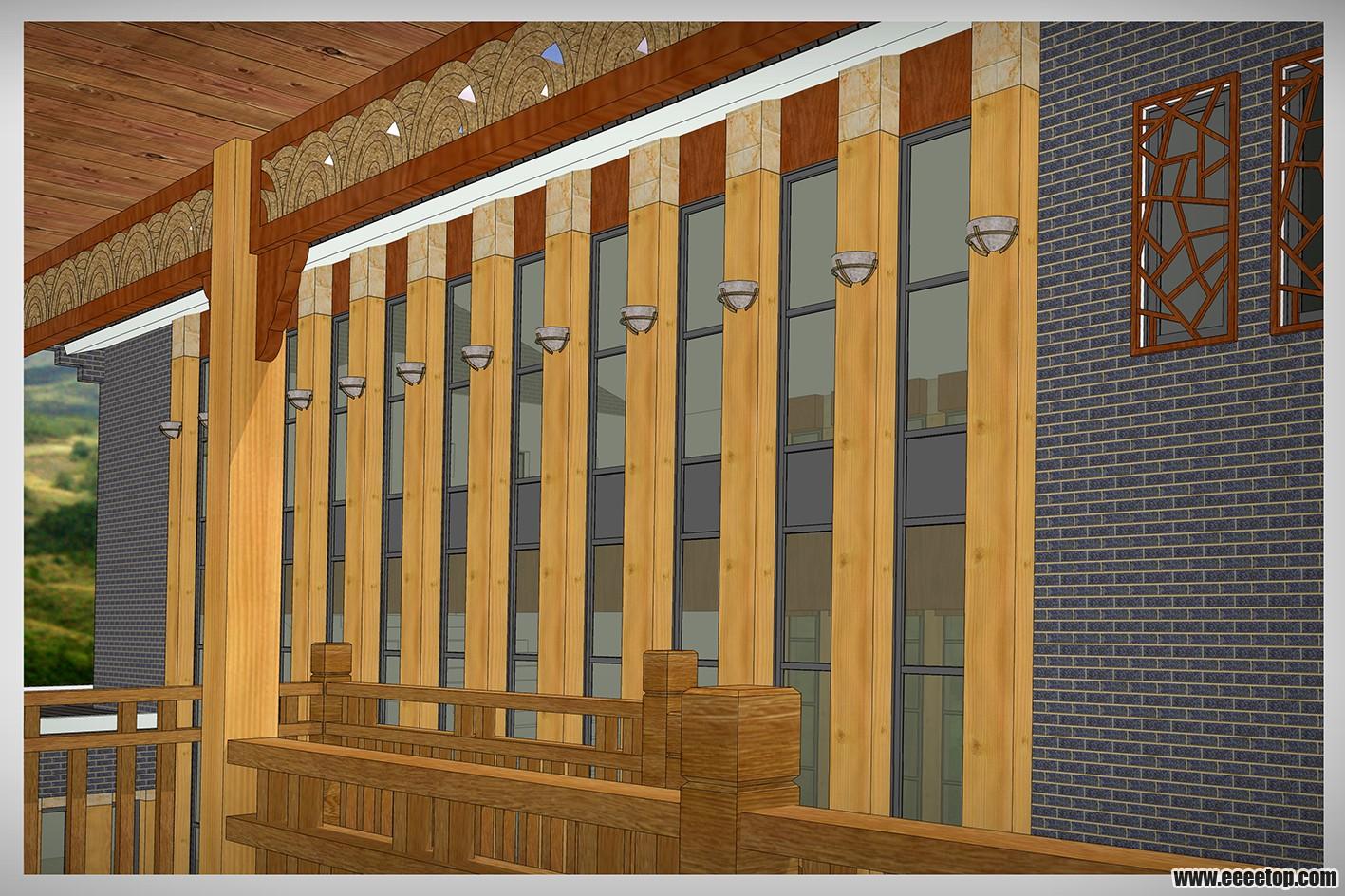 新中式 木结构会所建筑
