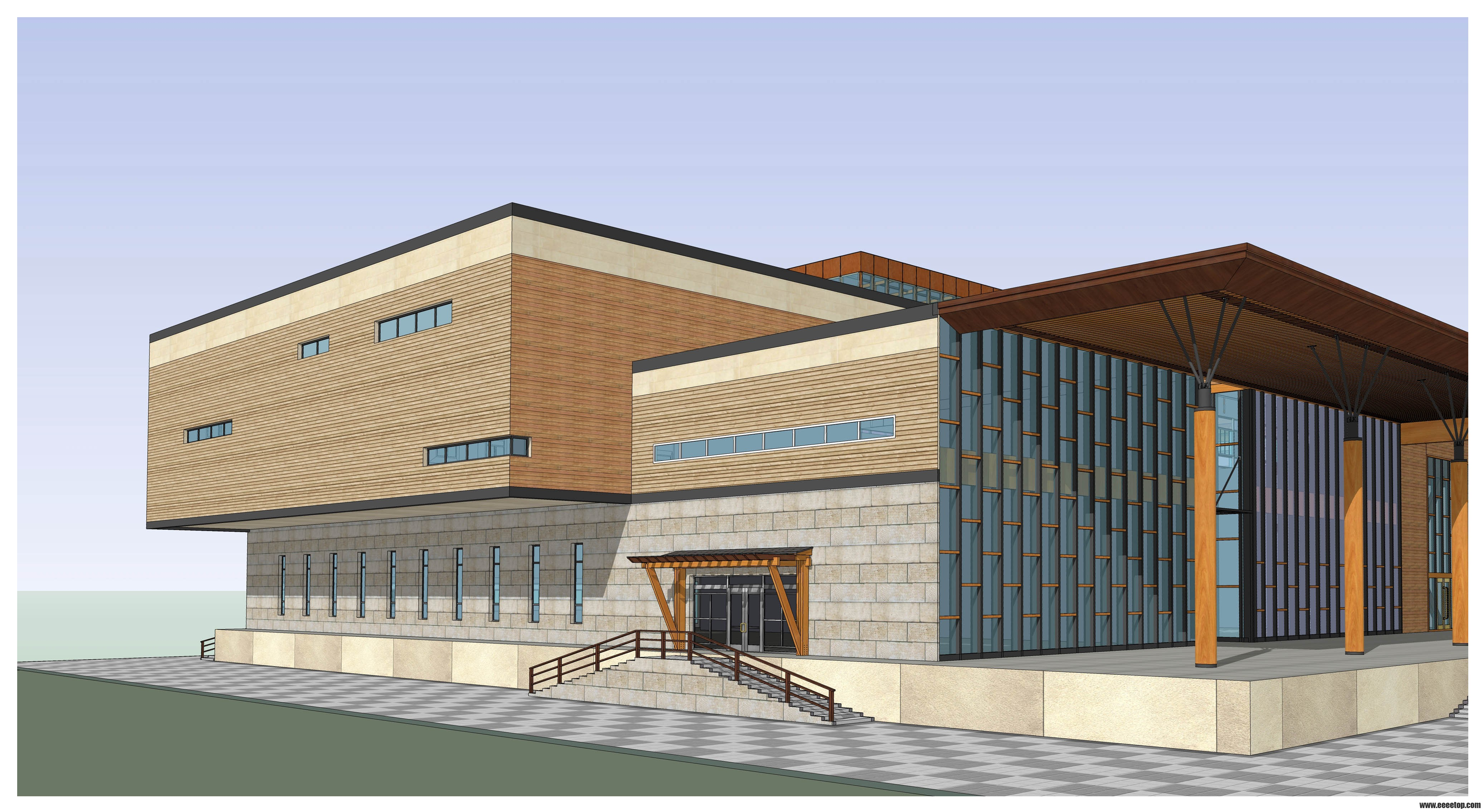 三层木结构办公楼 - 可视化设计