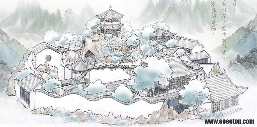 【学堂·手绘】古典园林设计的手绘表现