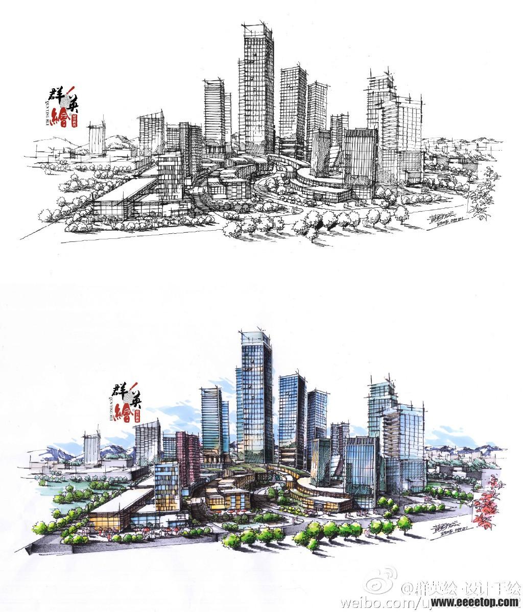 建筑鸟瞰图手绘表现作品