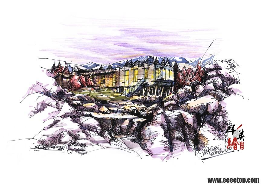 群英绘 现代建筑手绘表现作品