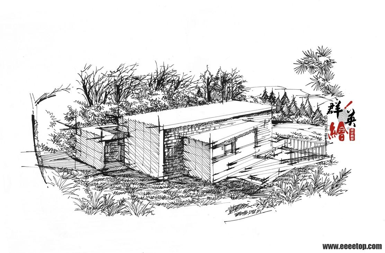 现代建筑手绘 - 著名建筑手绘