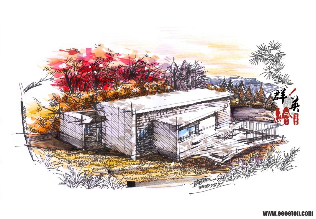 现代建筑手绘表现作品