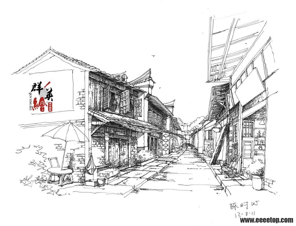 福建群英绘-古建筑钢笔画作品图片