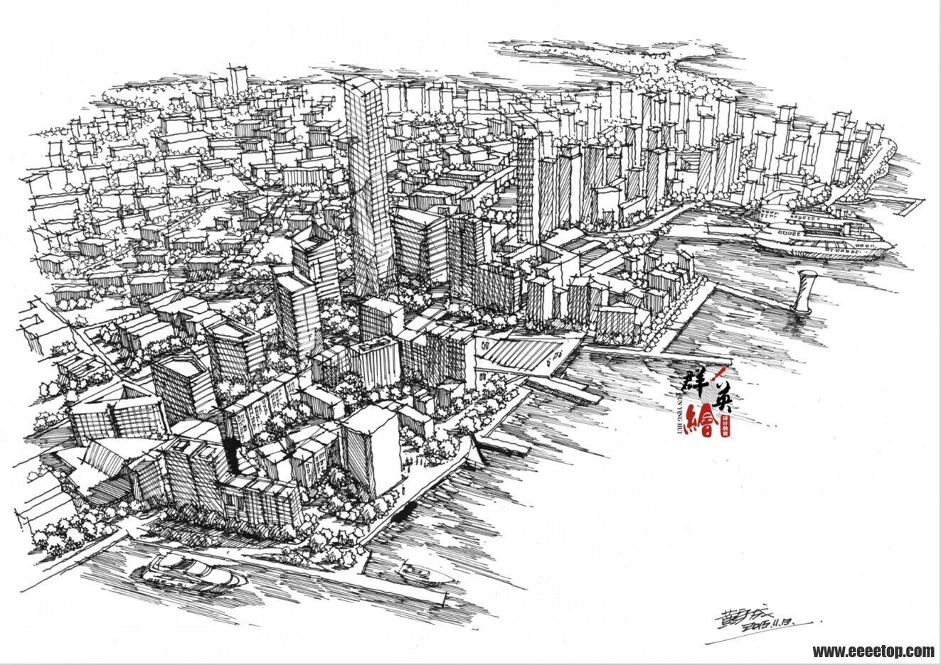 建筑鸟瞰图手绘表现 群英绘图片
