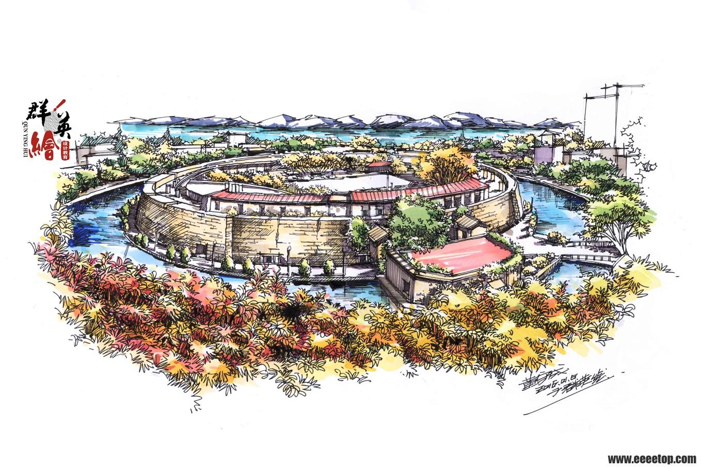 汕头石炮台公园手绘马克笔上色步骤5——群英绘作品